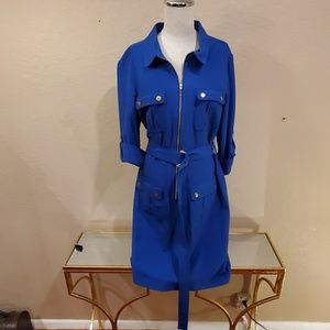 Cobalt Blue Belted Shirt Dress by Sharagano